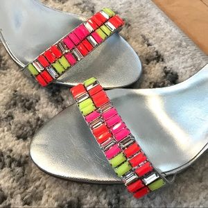 Colorful Dune Silver Leather & Neon Stone Sandals